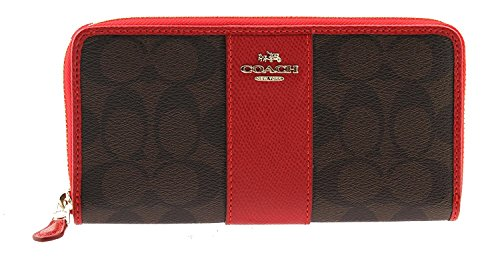 (Coach Signature Coated Canvas with Leather Stripe Accordion Zip Wallet in Brown/True Red, F54630 IML72)