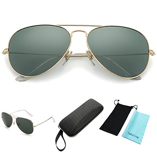 YuFalling Polarized Aviator Sunglasses for Men and Women (gold frame/black green lens, 58)