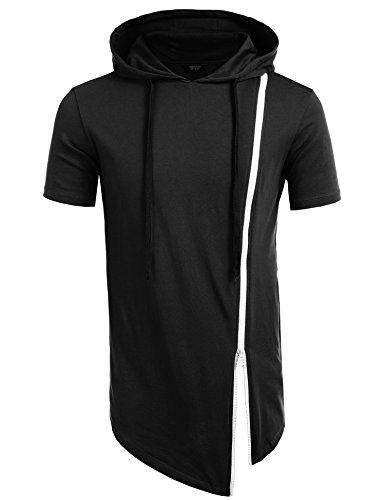 COOFANDY Men's Hipster Hip Hop Hoodie Irregular Zipper T-shirt, Black, Small