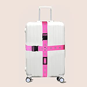 Attac Adjustable Superior Strength Extra Long Cross Luggage Strap belt Suitcase Travel Belt Tags (Pink)