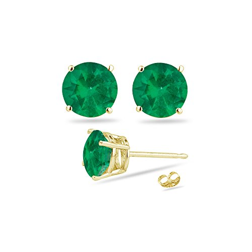 (0.61-0.95 Cts of 5 mm AA Round Natural Emerald Stud Earrings in 14K Yellow)