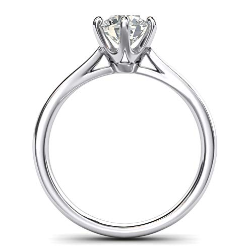 Sterling Silver 2.0 CT Classic 6-Prong Solitaire Simulated Diamond Engagement Ring Promise Bridal Wedding Ring (7.5)