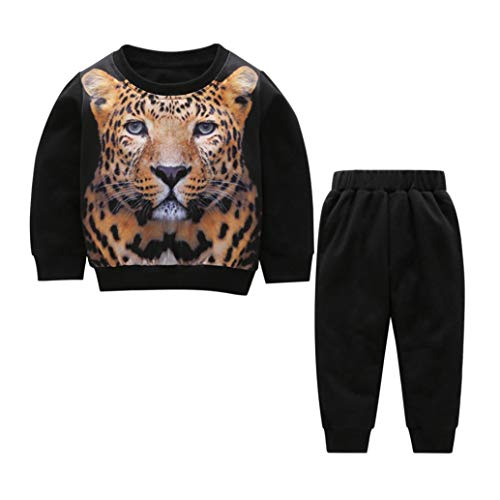 Toddler Baby Kids Sweatshirt Set 2-Piece Clothes Warm Long Sleeve Pullover 3D Tiger Print Tracksuit +Pants Outfit (Black, 12 Months) ()