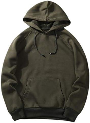 Nicellyer Men Pocket Solid Athletic Fit Hooded Casual Leisure Sweatshirt