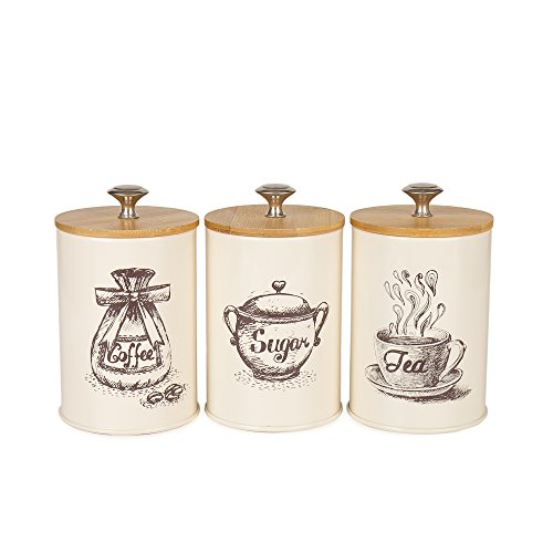 Hot Sale X023S Set of 3 Metal Food Storage Tin Canister/Jar with Bamboo Lid (Cream white) (Bamboo Kitchen Storage Canister)