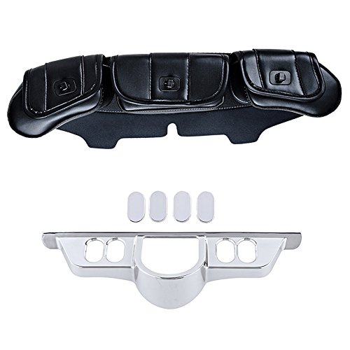 Windshield Chrome Panel (Three-Pocket Fairing Pouch Windshield Bags with Set Chrome Switch Dash Panel Accent Insert Cover Compatible for 96-13 Electra Glide 06-13 Street Glide)