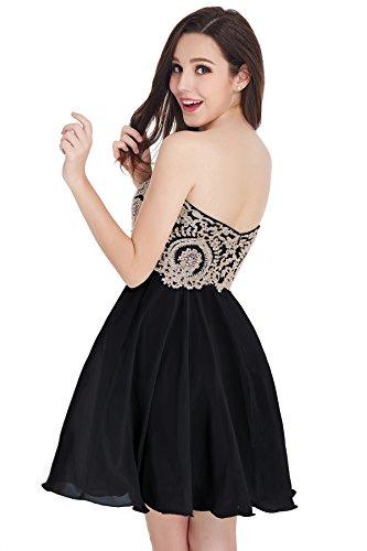 Junior's Quinceanera Short Applique Homecoming Black Babyonline Dresses Lace Gold dHPfdqS