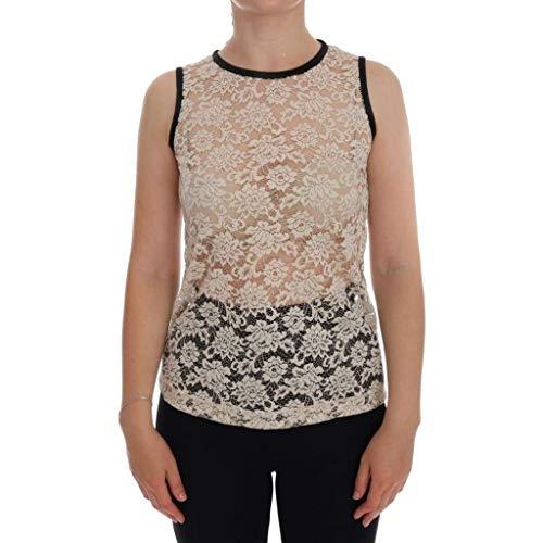 - Dolce & Gabbana Beige Lace Floral Nylon Cotton Tank Top