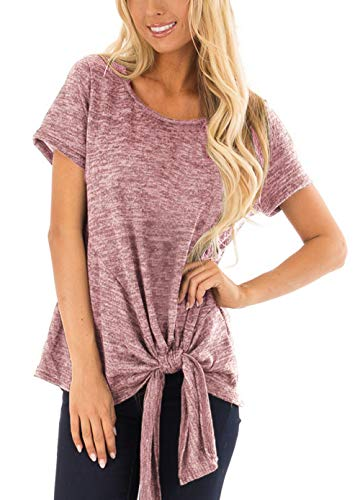 Womens T Shirts Casual Teens Present Spring Short Sleeve Round Neck Tunic Tops Brick Red XXL