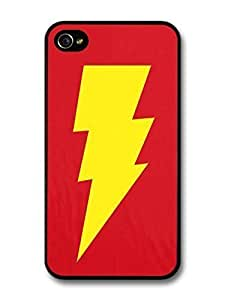 AMAF ? Accessories Big Bang Theory Yellow Lightning and Red Background case for iPhone 4 4S