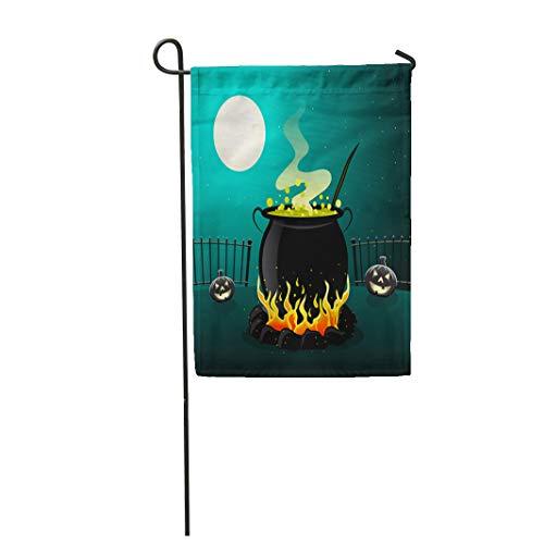 Semtomn Garden Flag Green Witch Halloween Cauldron Pot Smoke Kettle Boiling Moon 28