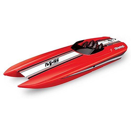 Traxxas 57046-4 Red DCB M41 Brushless Catamaran Boat with TQi 2.4 Ghz Radio & TSM, ()