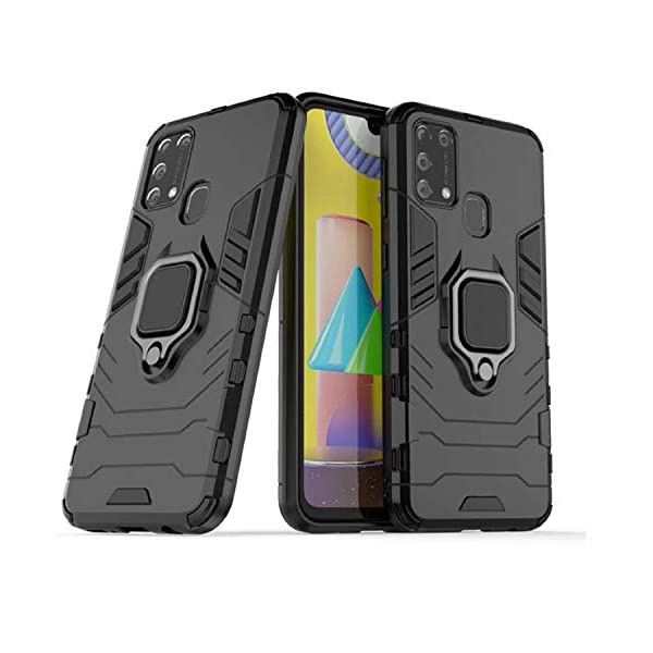 Amzio Bumper Case for Samsung Galaxy M31 Prime/M31/ F41(Rubber;Polycarbonate/Black) 2021 August Specially Designed Back Cover For Samsung Galaxy M31 Prime / F41 / M31 KICKSTAND: This allowing you to sit the phone horizontally when watching videos or viewing photos RING STAND: Designed to prevent your phone from accidental drops and slips, Promotes better one hand usage and better phone control. Provides increased phone handling security.