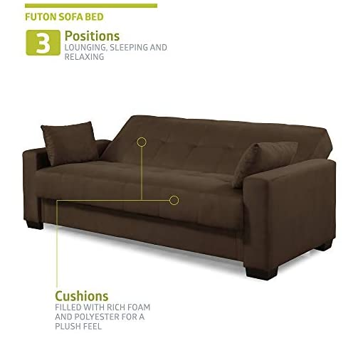 Farmhouse Living Room Furniture Pearington Mia Sofa Bed- Microfiber, Multi Position Bedroom, Living Room, or Office Futon Couch Sleeper and Lounger with… farmhouse sofas and couches
