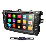 hizpo Car DVD Player 8 Inch Touch Screen GPS Stereo iPhone Music/AM FM Radio/SWC/Bluetooth/3G/AV-IN Map Card + Rear Camera Fit F or Toyota Corolla 2007 2008 2009 2010 2011