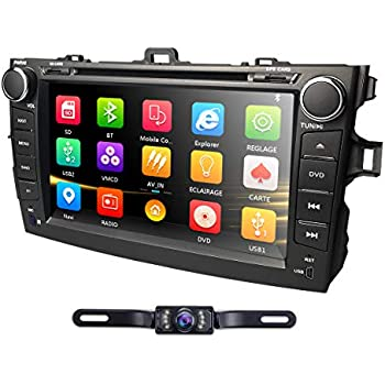 hizpo Car DVD Player 8 Inch Touch Screen GPS Stereo iPhone Music/AM FM Radio/SWC/Bluetooth/3G/AV-IN Map Card + Rear Camera Fit F or Toyota Corolla 2007 2008 ...