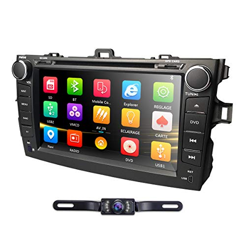 8 Inch Touch Screen GPS Stereo iPhone Music/AM FM Radio/SWC/Bluetooth/3G/AV-IN Map Card + Rear Camera Fit F or Toyota Corolla 2007 2008 2009 2010 2011 ()