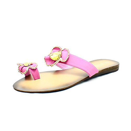 Dorée Avec Anneau sendit4me Roses Plates Sandales Et D'Orteil pink Bordure XRtRqn