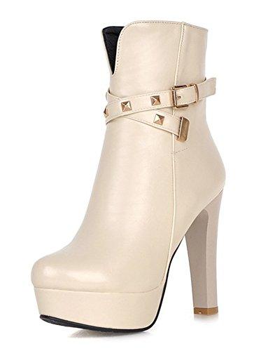 4e16e5bd5a6510 Aisun Femmes Mode Clouté Boucle Sangle Bout Rond Côté Fermeture À Glissière  Robe Chunky Haut Talon. chaussures ...