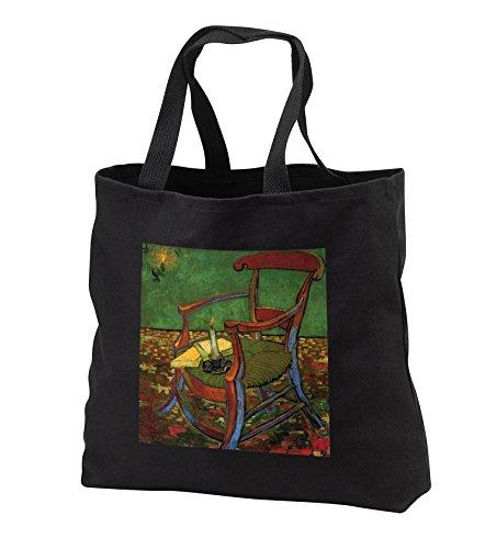 Dutch Painter Van Gogh Painting of Artist Gauguins Chair - Image of Van Gogh Painting Of Artist Paul Gauguins Chair - Tote Bags - Black Tote Bag JUMBO 20w x 15h x 5d (tb_255353_3) (Chairs Black Painting)