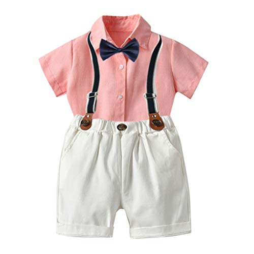 WOCACHI Toddler Baby Boy Gentleman Suits Short Sleeve Shirt Suspender Shorts Outfit Set 2pcs 3pcs Footies Onesies Playsuits Tutu Princess Granddaughter Rash Guards Short Tee Sets