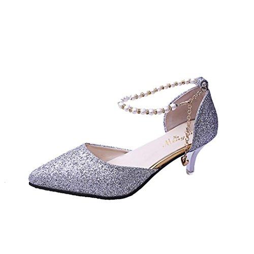 Kolylong® Damenschuhe Frauen Elegant Pailletten Schuhe mit Absatz Vintage Spitze Sandalette High Heels Frühling Stilettos Schuhe Sommer Sandalen Party Wedding Hochzeitsschuhe Silber