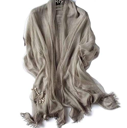 Scarf With Double Layers - OKEER Unisex Solid Color Silk Cotton Fabric Scarves Wraps(Khaki) (Double Layer Scarf)