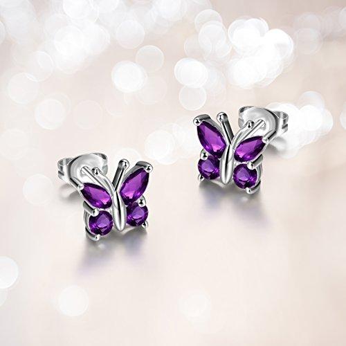 Sterling Silver Genuine African Amethyst Butterfly Stud Earrings