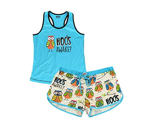 Lazy One Women's Cute Casual Fit Print Cotton Pajama Tank and Short Set (Hoo's Awake, Large)