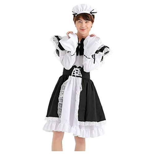 Partiss Halloween Anime Cosplay Costume French Apron Maid Fancy Dress,M,Men Black White