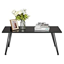 Living Room Black Modern Coffee Table,Mid Century Rectangle End Table with Metal Frame for Living Room,42 Inch (Black) modern coffee tables