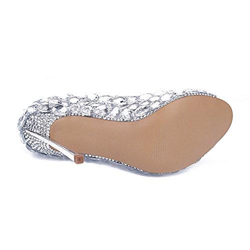 Lacitena Diamant Metall Heels Schuhe Beaded Kristall High Absatz Rhinestone Elegant rrqwdgH