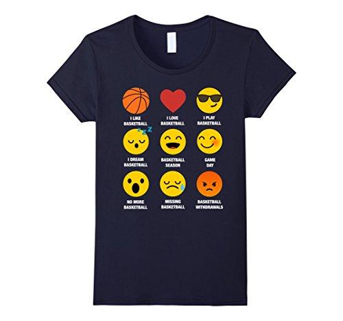 Womens I Love Basketball Emoji Emoticons Funny Graphic TEE Shirt Large Navy