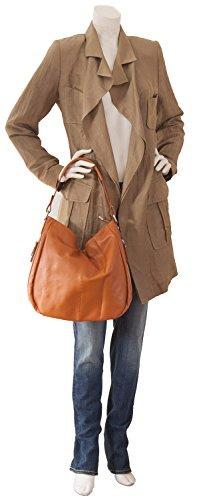 Sachet italien Nappa sac bandoulière en cuir lisse doux (35 x 32 x 11 cm), Colour:Noir