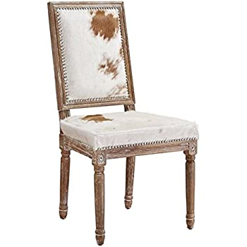 Superior TOV Furniture The Cowgirl Collection Rustic Style Genuine Brazilian Cowhide  Upholstered Oak Frame Dining Chair With