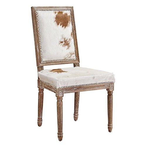 TOV Furniture The Cowgirl Collection Rustic Style Genuine Brazilian Cowhide Upholstered Oak Frame Dining Chair with Nailhead Trim, Natural Cowhide