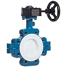 "Garlock VAL01-10029G GAR-SEAL Butterfly Valve, 10"", 150# Series 111 Ductile Iron Lug Body, PTFE Disc and Liner with Gear Operator, Blue/White"