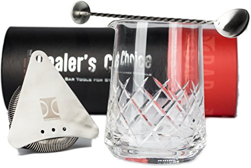 Premium Cocktail Mixing Glass Set | Includes 750ml/25oz Stirring Glass with precision cut Yarai Weave pattern, Stainless Steel Hawthorne Strainer and European Style Spoon by The Elan Collective by The Elan Collective