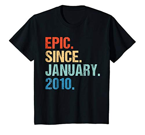 Kids Vintage 9th Birthday Gift Epic Since January 2010 Yrs Shirt ()