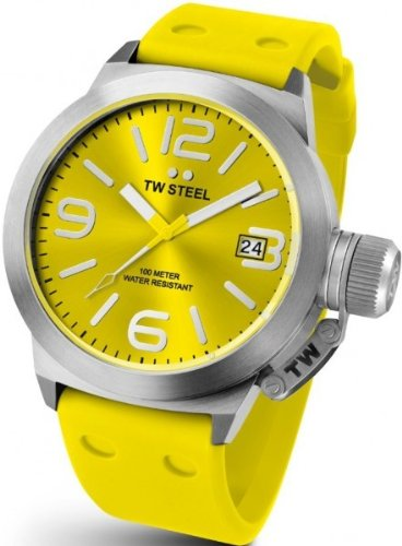 TW Steel Canteen Yellow Dial Yellow Silicone Mens Watch TW520