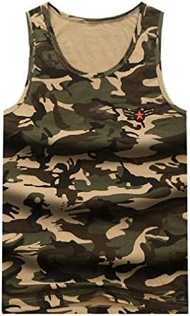 Candiyer Mens Camouflage Summer Sports Basic Cotton Slim Fitted Jersey Tank