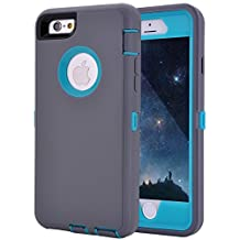 """iPhone 6 Case, iPhone 6S Case, Crosstree Heavy Duty Shockproof Series Case for iPhone 6/6S (4.7"""")-V2 with Built-in Screen Protector Compatible with all US Carriers (Gray&Lt Blue)"""