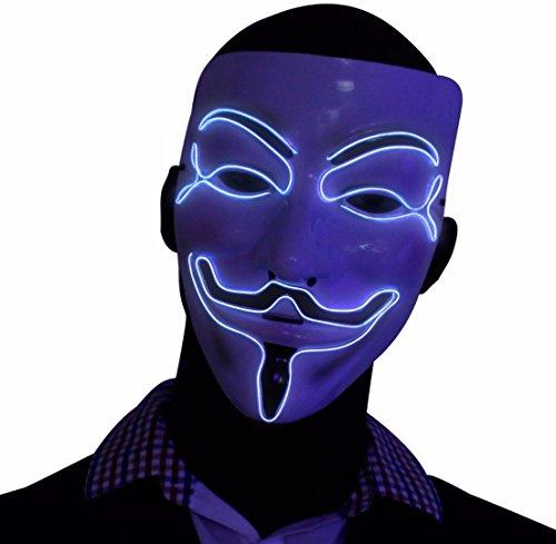 """Masque """"V pour Vendetta"""" argent à LED, masque de Guy Fawkes Anonymous, masque illuminé fluorescent pour Halloween"""