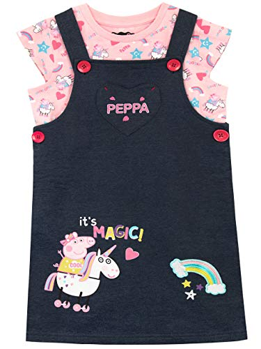 Peppa Pig Girls' Unicorn Pinafore Dress & T-Shirt Size 18M Multicolored