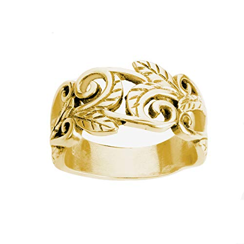 CloseoutWarehouse Yellow Gold-Tone Plated Sterling Silver Acacia Leaves Filigree Ring Size 6