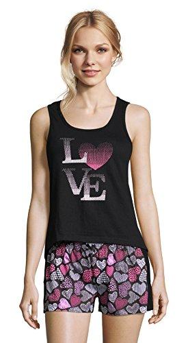 Sleep & Co. Womens Lace Trim Graphic Tank Top and Shorts Sleepwear Pajama Set Black Large ()