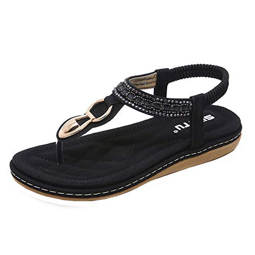 Mysky Women Bohemian Sweet Beading Clip Toe Sandals Ladies Summer Leisure Beach Soft Flat Flip Flops Sandals Black