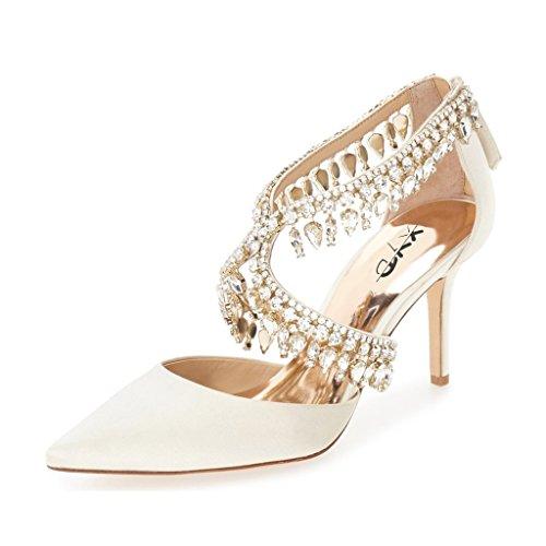 XYD Wedding Bridal Pumps Sandals Shiny Rhinestones High Heels Stilettos Pointy Toe Dance Shoes for Women Size 8 Ivory