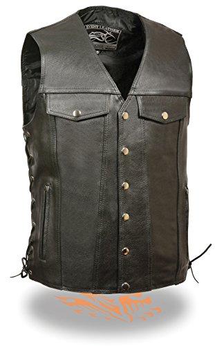 Men's Side Lace Motorcycle Biker Vest with Gun Pockets concealed carry arms (Large)