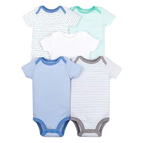 Lamaze Organic Baby Boys Lamaze Baby Organic 5 Pack Shortsleeve Bodysuits, Blue 6M